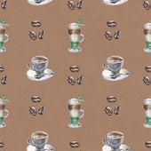 Watercolor coffe pattern — Stock Photo