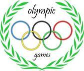 Olympijské kruhy s listy — Stock vektor