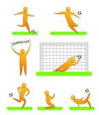 Человеческие силуэты, играть в футбол (футбол) — Cтоковый вектор