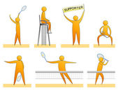 Human silhouettes playing tennis — Stock Vector
