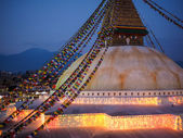 Buddhist shrine Boudhanath Stupa with pray flags — Stock Photo