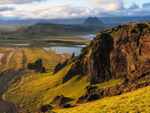Coastline of iceland during sunset. — Stock Photo