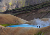 Trekkers in Landmannalaugar Fjallabak — Stock Photo
