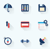 Set of flat icons with long shadows. Vector illustration — Stock Vector