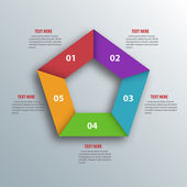 Abstract 3D Paper Infographics. Pentagon shape. Vector illustrat — Stockvector