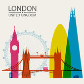 London city skyline silhouette background, vector illustration — Stock Vector