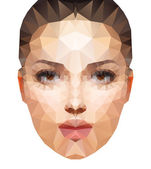 Beautiful young woman consisted of triangles. — Stock Vector