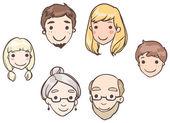Set of heads family members — Stock Vector