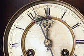 Old clock hanging in close-up, zoom — Stock Photo