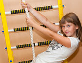 Girl and ladder  — Stock Photo