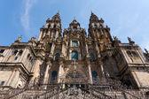 Baroque facade of Santiago de Compostela cathedral — Stock Photo