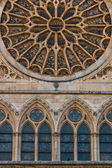 Lancet arch windows under the main rose window of the Cathedral  — Stock Photo