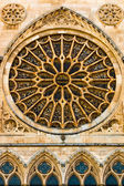 Full view of main rose window and lancet arch shapes in the goth — Stock Photo