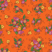 Seamless orange rose textile pattern — Stock Vector