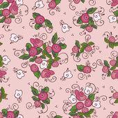 Naadloze roze roos patroon — Stockvector