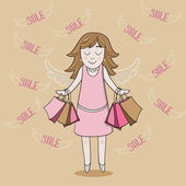 Girl with sale bags — Stock Vector