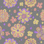 Colorful doodle flowers seamless pattern — Stock Vector