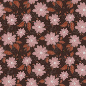 Flowers swirls and leaf pattern — Cтоковый вектор
