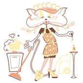 Cat housewife — Vettoriale Stock