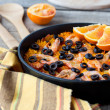 Tradition Seafood Spanish Paella in authentic iron pan — Stock Photo #51474561