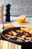 Tradition Seafood Spanish Paella in authentic iron pan — Stock Photo