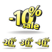 Ten, twenty, thirty, forty percent discount icon on white background. Isolated. Black and yellow. Sale. — Stock Vector