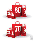 Shopping bag printed with a sixty and seventy discount. Vector. Isolated. — Stock Vector