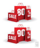 Shopping bag printed with a eighty and ninety discount. Vector. Isolated. — Stock Vector