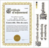 Gold certificate. Template. Vertical. Additional design elements. — Stock Vector