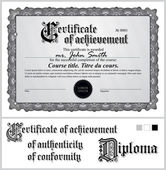 Black and white certificate. Template. Horizontal. Additional design elements. — Stock Vector
