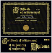 Black and gold certificate. Template. Horizontal. Additional design elements. — Stock Vector