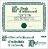 Green certificate. Template. Horizontal. Additional design elements. — Stockvector