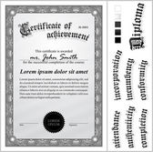 Vector illustration of black and white certificate. Template. Vertical. Additional design elements. — Stock Vector
