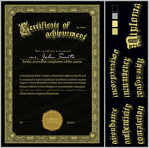 Vector illustration of black and gold certificate. Template. Vertical. Additional design elements. — Stock Vector