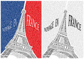 Eiffel Tower from the names of the attractions of France. — Stockvector