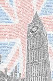 Big Ben of the names of London attractions. Vector — Stock vektor