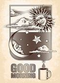 Vintage drawing of the sun, moon and stars. Good morning — Stock Vector