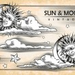 The moon, sun, clouds. Set of vintage elements — Stock Vector #50353181