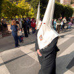 MALAGA, SPAIN - APRIL 09: Nazarenes and musicians from Semana Sa — Stock Photo #48705429