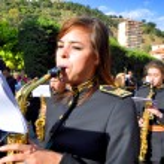 MALAGA, SPAIN - APRIL 09: Nazarenes and musicians from Semana Sa — Stock Photo #48705451