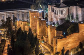 Night view of the Alcazaba, old muslim castle, in Malaga city, S — Stock Photo
