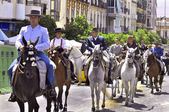 MALAGA, SPAIN - AUGUST, 14: Horsemen and carriages at the Malaga August Fair on August, 14, 2009 in Malaga, Spain — Stock Photo