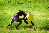 SENEGAL - SEPTEMBER 19: Men in the traditional struggle (wrestle — Stock Photo