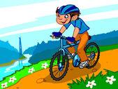 The illustration of a cartoon boy on a bicycle. — Zdjęcie stockowe