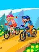 De afbeelding van de tekenfilm tieners op fiets. — Stockfoto