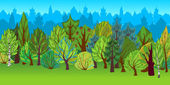 The illustration of cartoon forest. — Stock Photo