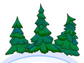 Cartoon image of three conifers on white-blue snowdrifts. — 图库照片