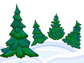 The cartoon coniferous forest and winter snowdrifts — 图库照片