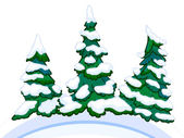 Cartoon image of three conifers on white-blue snowdrifts. — ストック写真