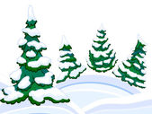 The cartoon coniferous snowy forest and winter snowdrifts. — Foto Stock
